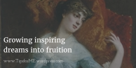 Painting of woman resting (Daydreaming by Edward Harrison May) with blog title on top
